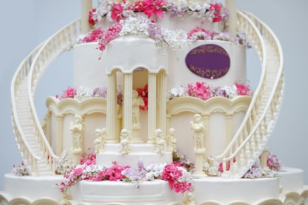 Detail of delicious wedding cake photo