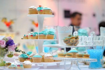 Delicious wedding blue sweet table photo