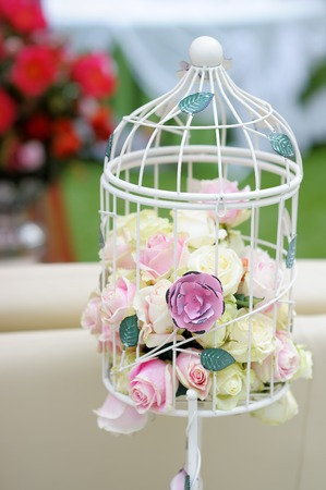pastel flowers: White cage with natural roses as decoration on wedding