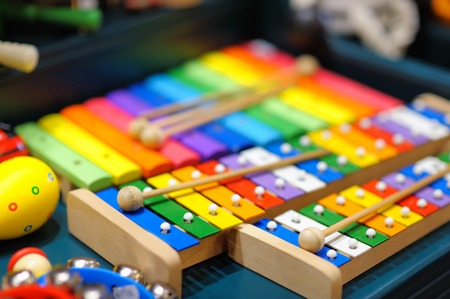 Few bright xylophones, closeup photo