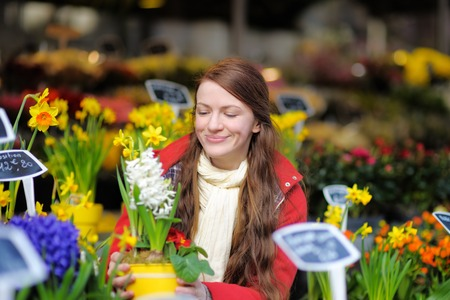 selecting: Beautiful young woman selecting fresh flowers at Parisian market