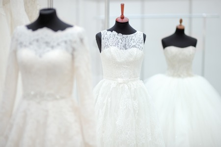 Beautiful wedding dresses on a mannequin