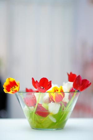 Bright red and orange tulip bouquet in glass vase photo