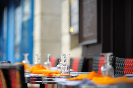 restaurant exterior: Stylish outdoor cafe in Paris, France Stock Photo
