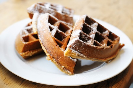 homestyle: Homestyle Belgian waffles on a white plate