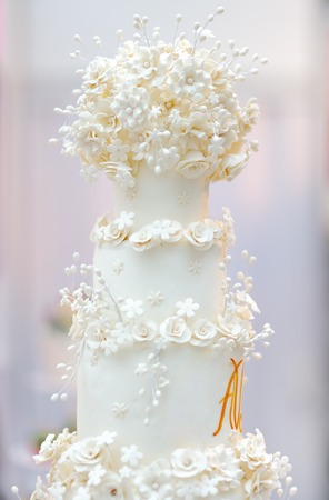 reception desk: Delicious white wedding cake decorated with cream flowers Stock Photo