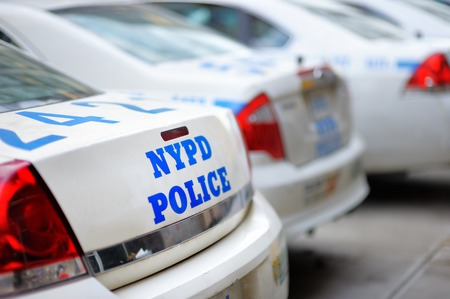 Row of NYPD police cars close up