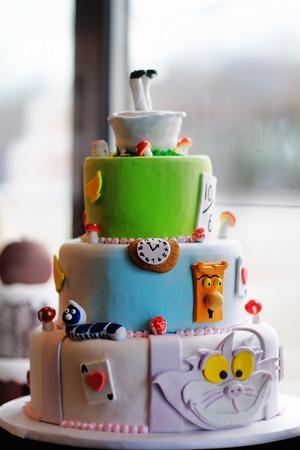 wonderland: Delicious original wedding or birthday cake Stock Photo