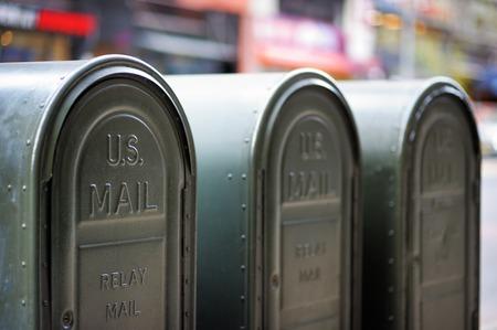 Rij van buiten mailboxen in NY, USA