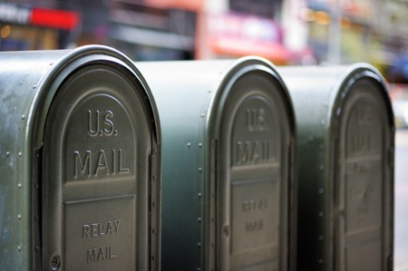 Row of outdoors mailboxes in NY, USA