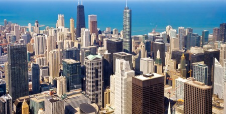 chicago city: City of Chicago. Aerial view of Chicago downtown Stock Photo