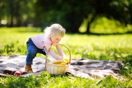 picnic cloth: Beautiful toddler child having a picnic in sunny park Stock Photo