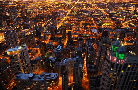 aerial: Aerial view of big city at night, Chicago, USA Stock Photo