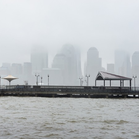 walking in the rain: New York City skyline on a rainy day