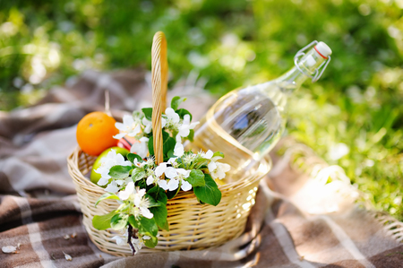 fruits in a basket: Picnic basket with fruits, flowers and water in the glass bottle