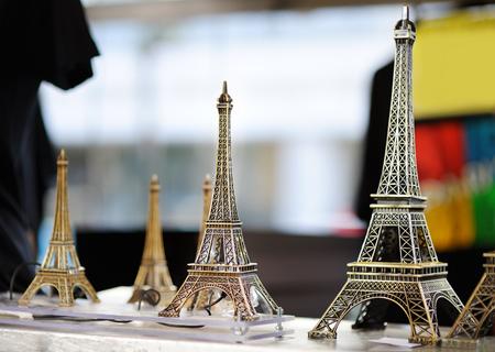 bibelot: Eiffel tower souvenirs for sale in Paris, France Stock Photo