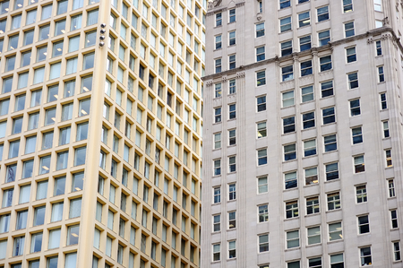 businesslike: Wall of Chicago skyscrapers as background Stock Photo