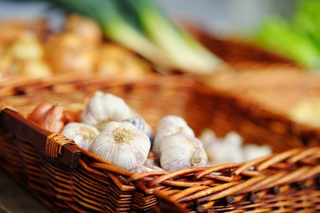 farmers market: Healthy bio garlic on Paris farmer agricultural market Stock Photo