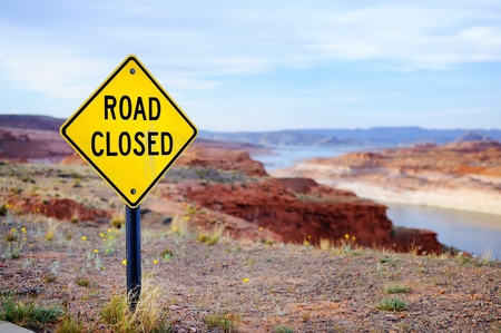 road closed: Close up photo of Road Closed Sign in USA