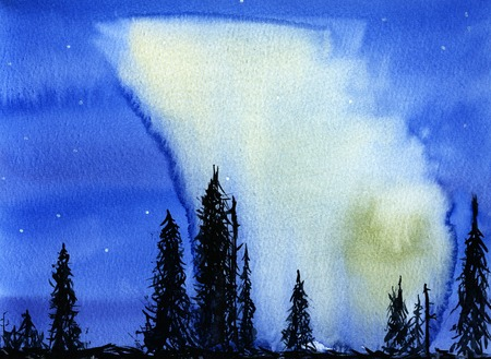 polaris: Hand drawn watercolor illustration of night nature view with northern lights