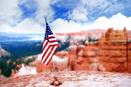 American flag with scenic view in Bryce Canyon National Park in Utah, USA