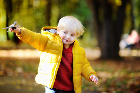 keen: Cute toddler boy playing with toy airplane in a autumn park. Outdoors child leisure. Game for little kid