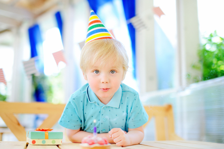 Cute little boy having fun and celebrate birthday party with colorful decoration and cake. Child with sweets, candy, whistle/blower/horn and festive gifts. Preschooler or toddler birthday party. Stock Photo