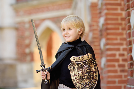 Portrait of a cute little boy dressed as a medieval knight with a sword and a shield. Medieval festival or costume party for kids