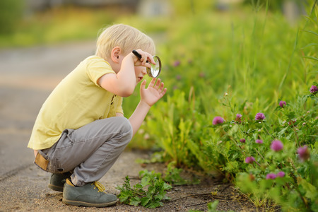 Charming kid exploring nature with magnifying glass. Little boy looking at grass with magnifier. Summer activity for inquisitive child Фото со стока