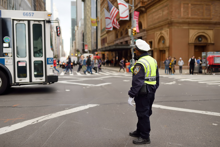 NEW YORK, USA - 23 OCTOBER 2018: NYPD traffic control officer on the streets of New York.