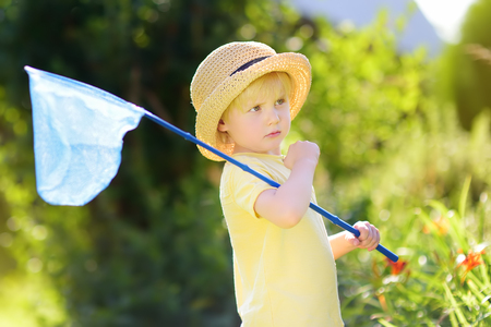 Cute little boy catches butterflies with scoop-net on sunny meadow. Young explorer of the nature. Summer activities for inquisitive child.