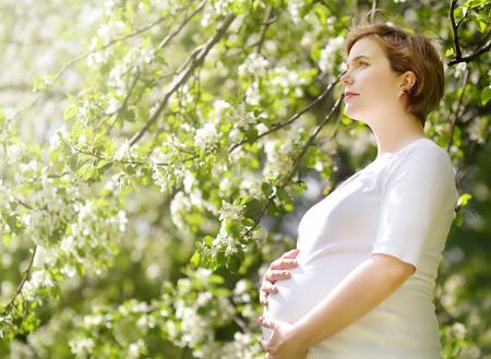 Portrait of a beautiful pregnant young woman at the spring park. Dreams about motherhood. Stock Photo