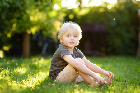 Beautiful boy is sitting on the grass on a sunny summer day. Happy childhood. Children in nature. Imagens