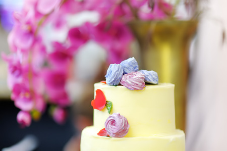 Traditional anniversary/wedding multi-layer cake. Beautiful delicious sweet dessert decorated with flowers on blurred background