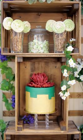 Traditional anniversary/wedding cake. Beautiful delicious sweet dessert - marshmallow, vanilla cake pops on wooden background. Stylish sweet table.