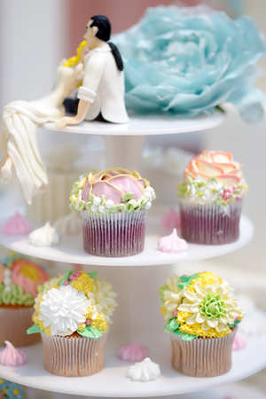 Delicious colorful wedding cupcakes with flower on the blurred background. Funny figurines bride and groom. Sweet table for wedding party.