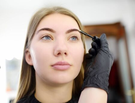 Beautician combs eyebrows using special brush on face young beautiful model. Facial care and make up. Professional beauty salon Imagens