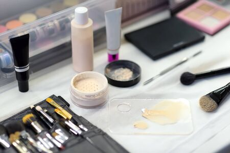 Beautician tools for makeup. Facial care and make up in a professional beauty salon.Closeup.