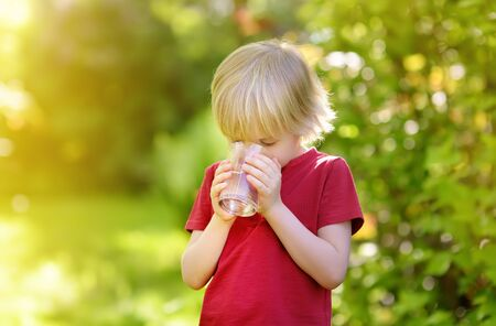 Little boy drinking glass of water in hot sunny summer day on the backyard or home garden. Healthy lifestyle for children.