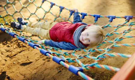 Cute little blond caucasian boy having fun on outdoor playground. Summer active sport leisure for kids. Child on hammock. Activities and fun for children outdoors.
