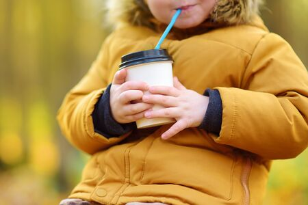 Little child walking in the forest and drinking hot cocoa at cold autumn day. Toddler boy enjoy of fall weather