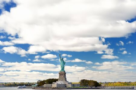 The statue of Liberty and liberty island, New York City, USA. Sightseeing of United States.