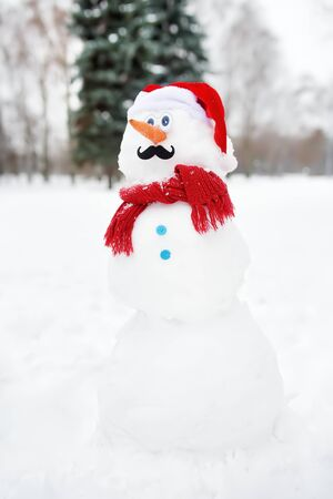 Handmade snowman with a scarf, Santa Claus hat, carrot nose and mustache in a snowy park. Active outdoors leisure for children and family in winter