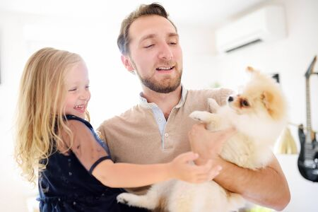 Young man and his little daughter play with 2-month old pomeranian spitz puppy. Loving owners with his domestic pet. 스톡 콘텐츠