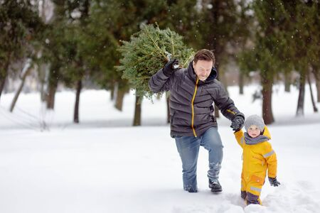 Little boy with his father bring a Christmas tree from winter forest overcoming snowdrifts and snowfall. Christmas holidays.