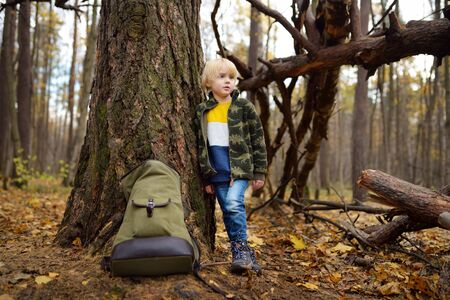 Little boy scout with big backpack has rest near large tree in wild woodland on autumn day. Concepts of adventure, scouting and hiking tourism for kids. Stock Photo