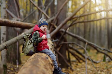 Little boy scout during hiking in autumn forest. Child is resting on large fallen tree and drinking hot tea. Concepts of adventure, scouting and hiking tourism for kids.