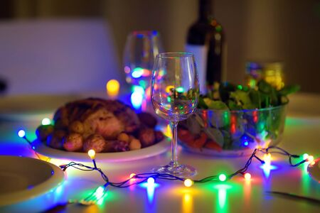 Romantic supper for pair in New year eve. Homemade organic food. Stock fotó