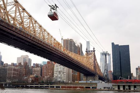 Ed Koch Queensboro Bridge from Manhattan to Queens and famous Roosevelt Island cable tramway. Transport of New York.