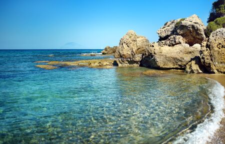 Desert bay by coast of sea in Greece, west Peloponnese, Kyllini 版權商用圖片